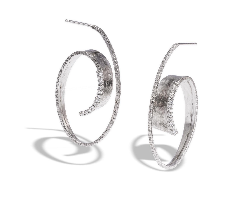 The Jewel - Elizabeth Garvin - Lookbook - Silver and Diamond Swirl Earrings