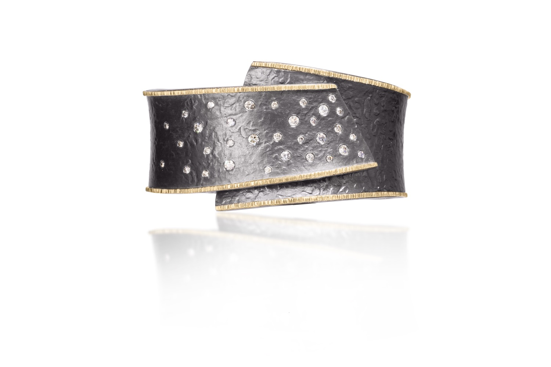 The Jewel - Elizabeth Garvin - Lookbook - Gold Lined Studded Gray Ring