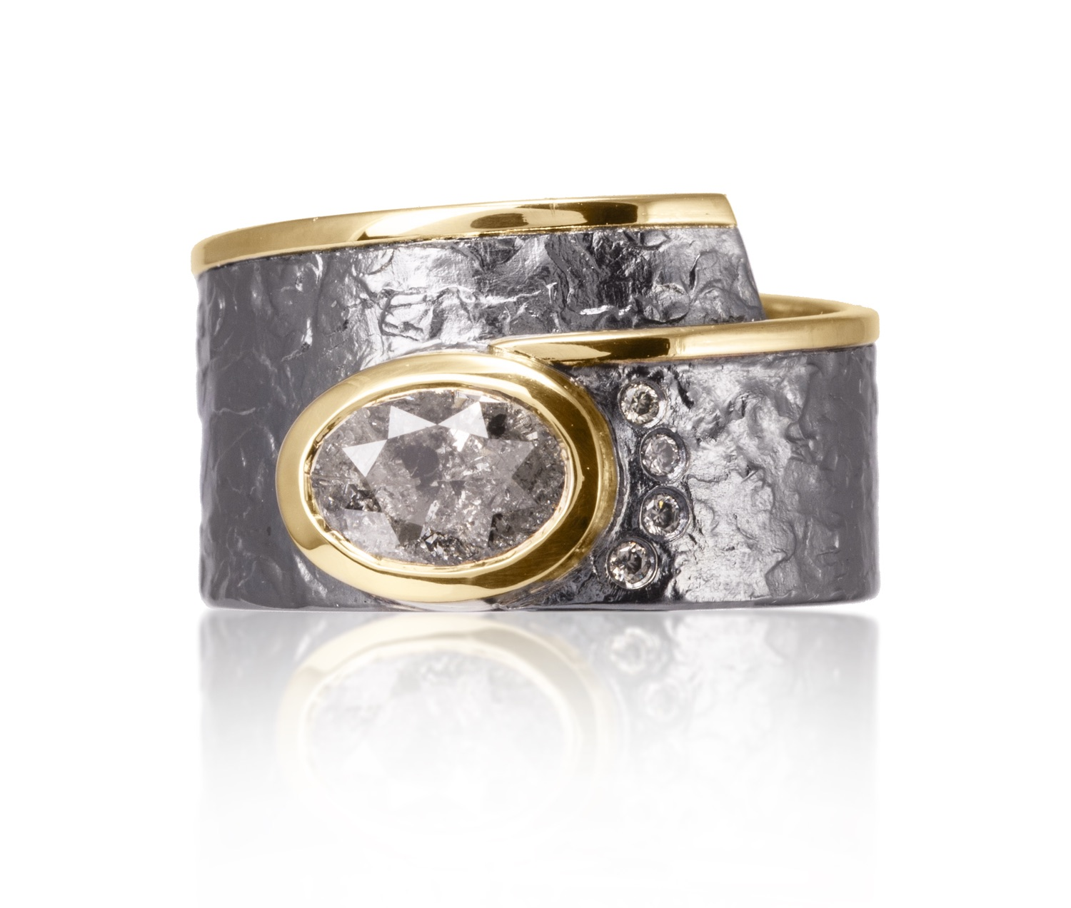 The Jewel - Elizabeth Garvin - Gray and Gold Studded Oval Wrap Ring