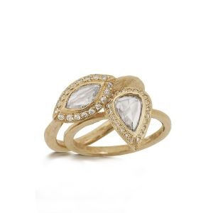 The Jewel - Just Jules - Lookbook - Gold Diamond Teardrop Rings