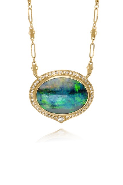 The Jewel - Just Jules - Gold Blue Green Necklace