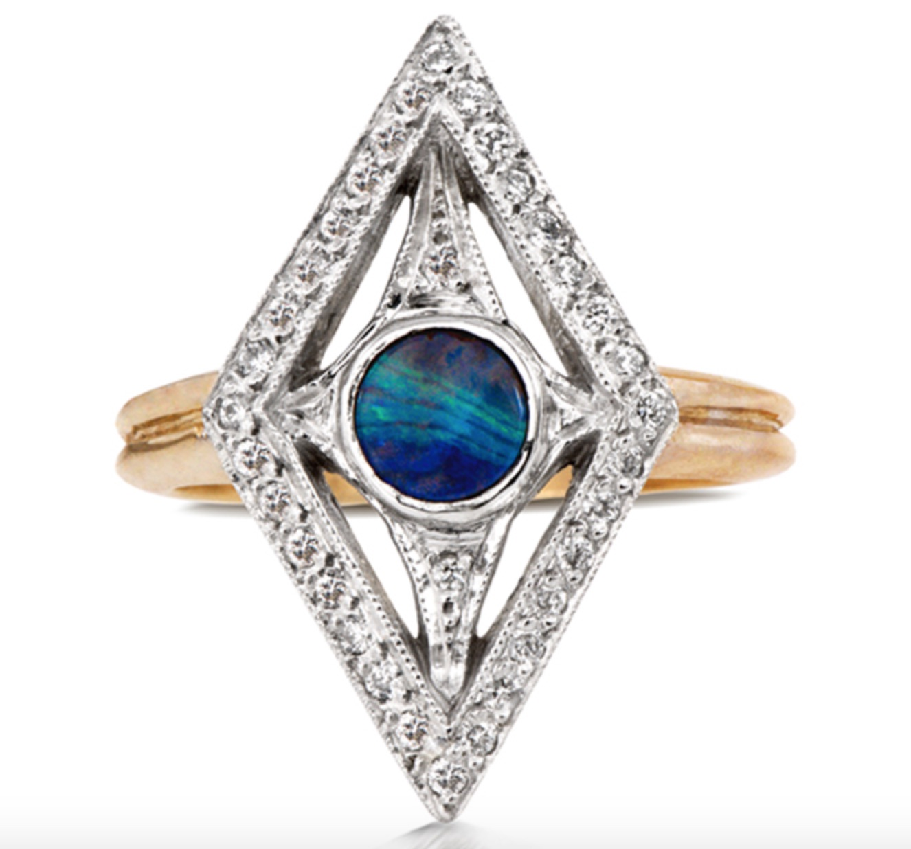 The Jewel - Just Jules - Gold Silver Diamond Blue Green Ring