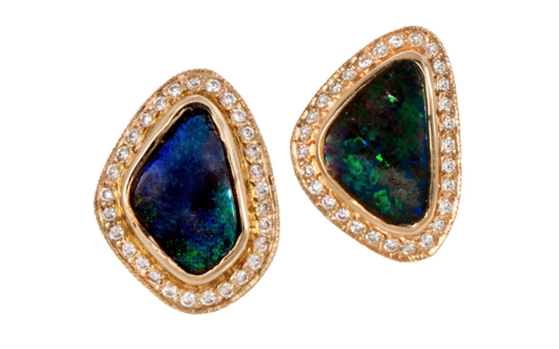 The Jewel - Just Jules - Gold Diamond Studded Blue Green Earrings