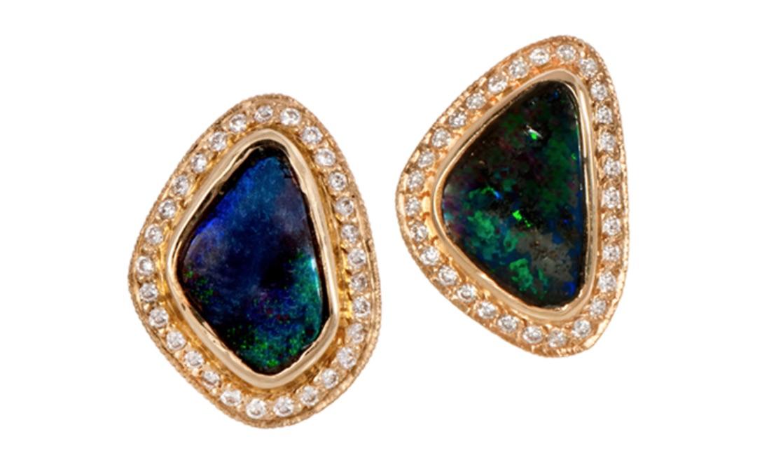 The Jewel - Just Jules - Gold Diamond Studded Blue Green Earrings