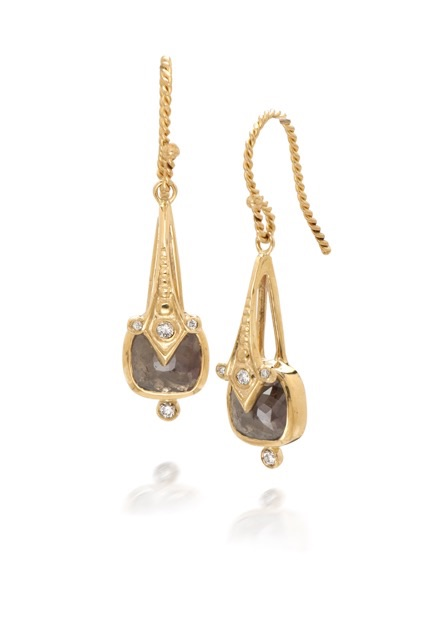 The Jewel - Just Jules - Lookbook - Gold Brown Diamond Drop Earrings