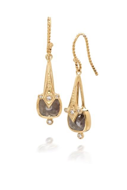The Jewel - Just Jules - Lookbook - Gold Brown Diamond Drop Earrings