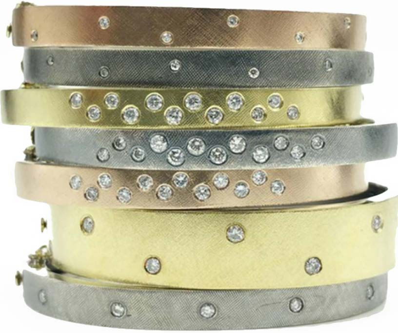 The Jewel - Rene Escobar - Lookbook - Bronze, Silver and Gold Stacked Bracelets