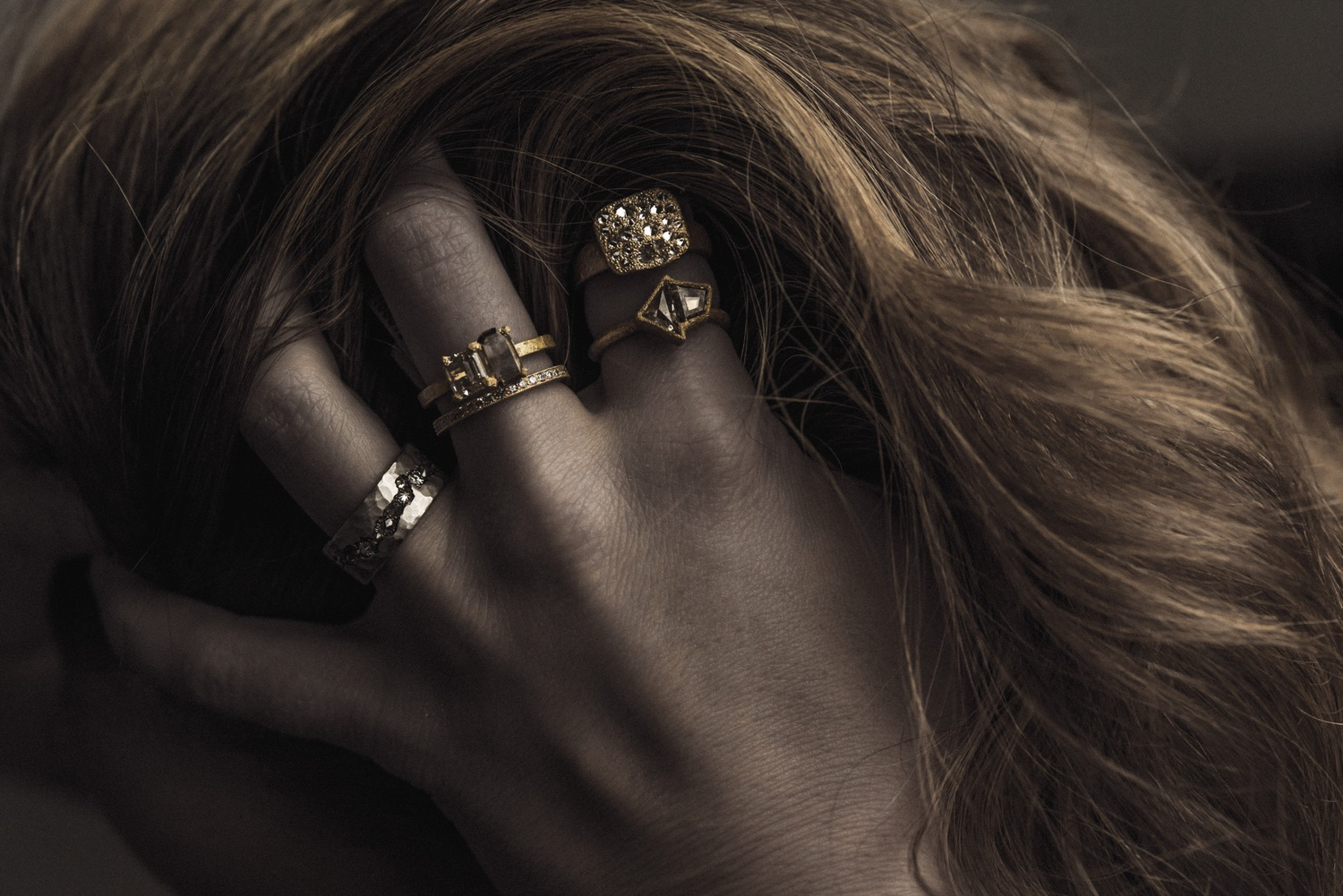 The Jewel - Todd Pownell Tap - Lookbook - Gold and Silver Rings on Model's Han