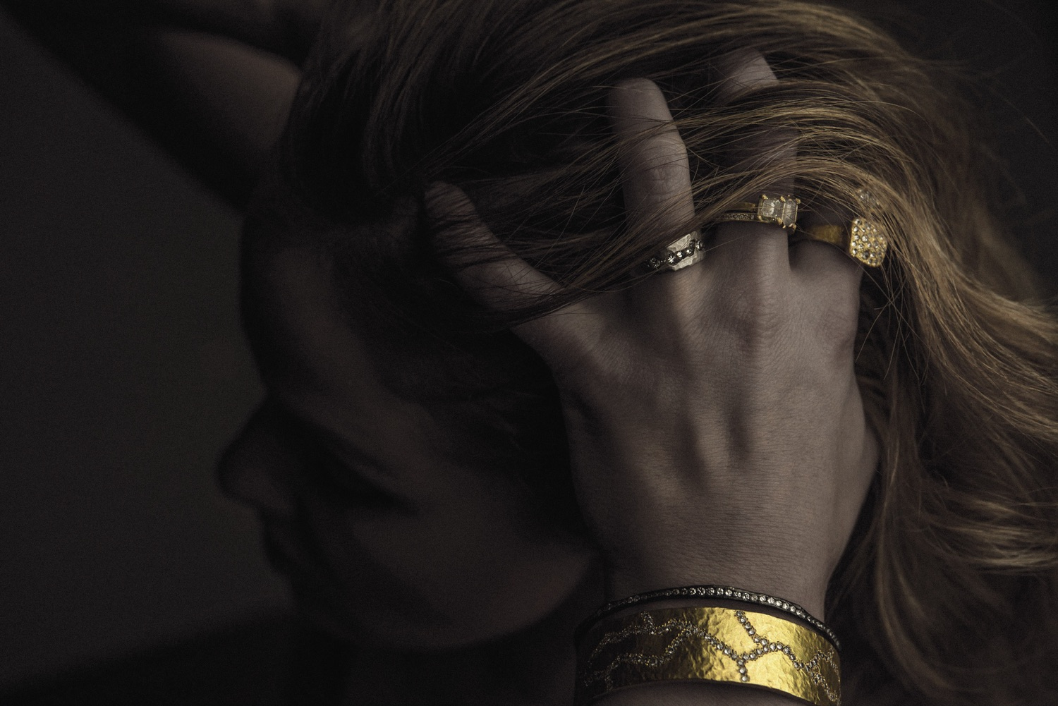 The Jewel - Todd Pownell Tap - Lookbook - Model Wearing Gold Rings and Bracelet
