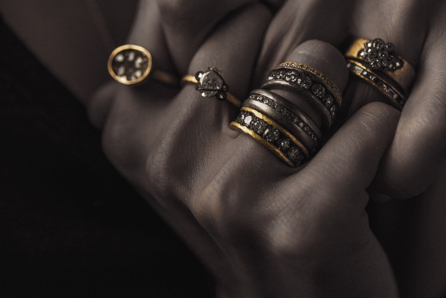 The Jewel - Todd Pownell Tap - Lookbook - Model Wearing Rings Close Up