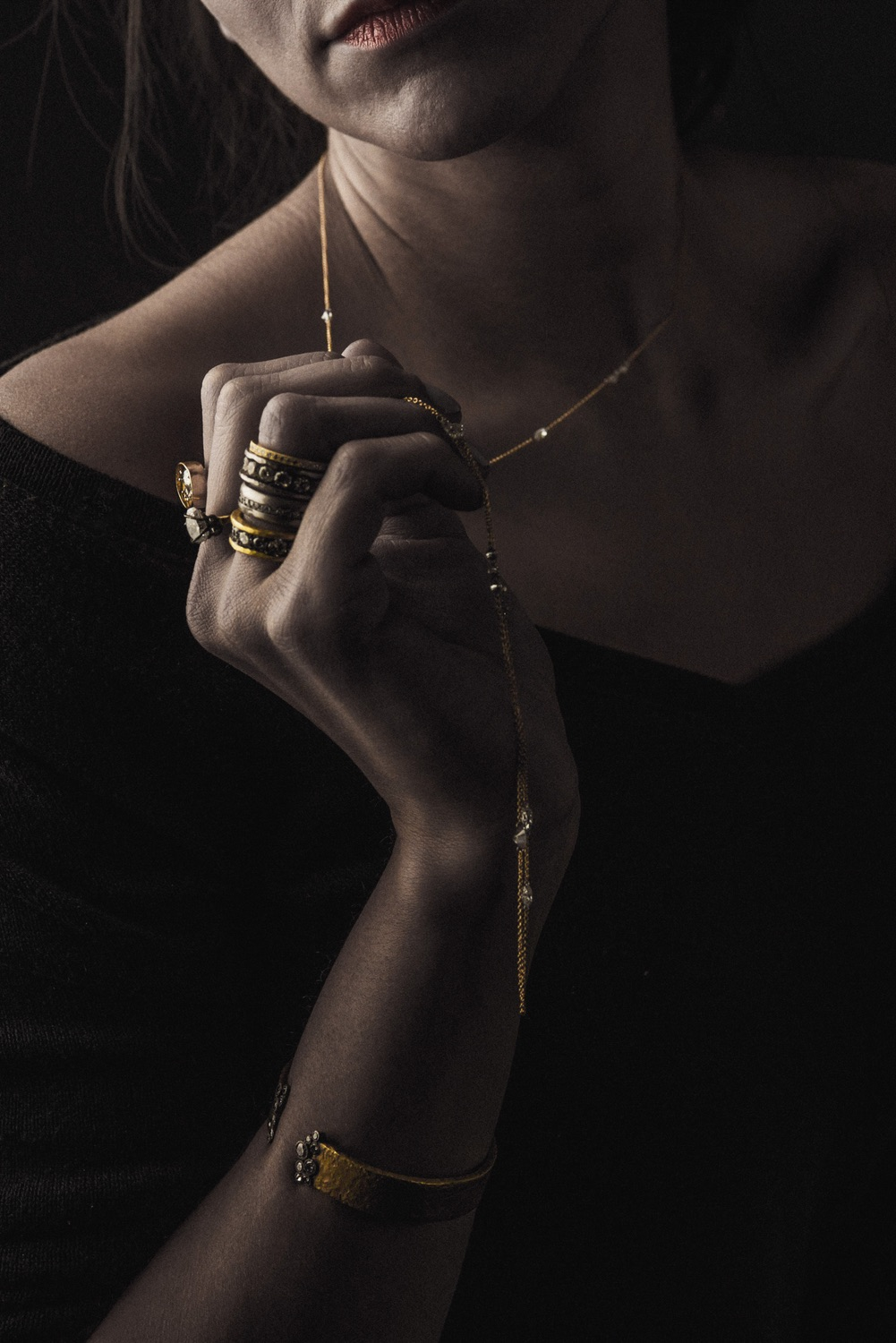 The Jewel - Todd Pownell Tap - Lookbook - Model Wearing Jewelry Collection