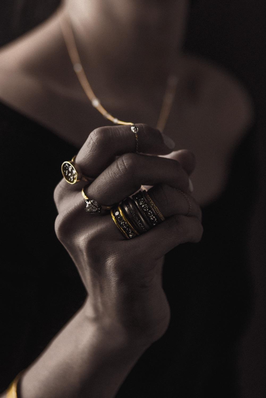The Jewel - Todd Pownell Tap - Lookbook - Model Wearing Rings