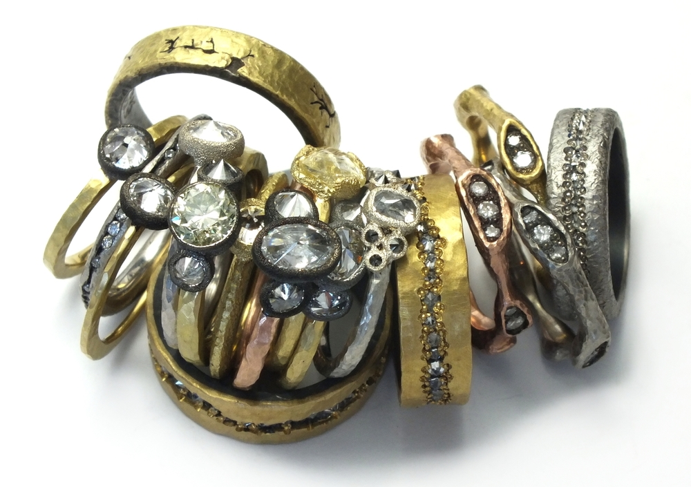 The Jewel - Todd Pownell Tap - Lookbook - Gold, Bronze, Silver and Diamond Stacking Rings