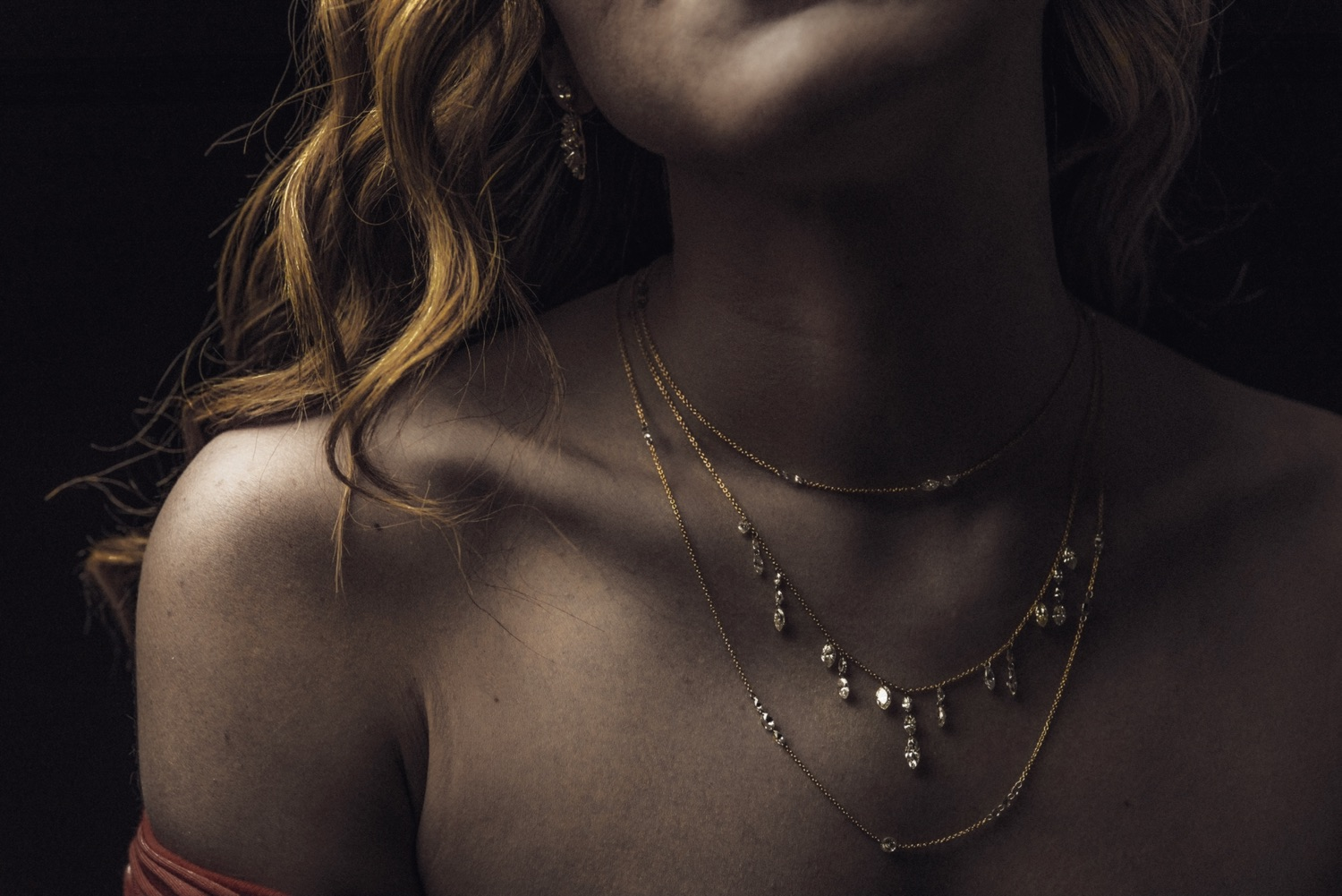 The Jewel - Todd Pownell Tap - Lookbook - Model Wearing Gold Necklaces
