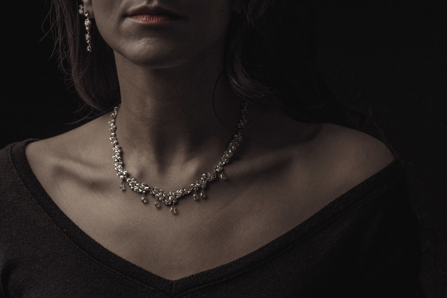 The Jewel - Todd Pownell Tap - Lookbook - Model Wearing Necklace and Earrings