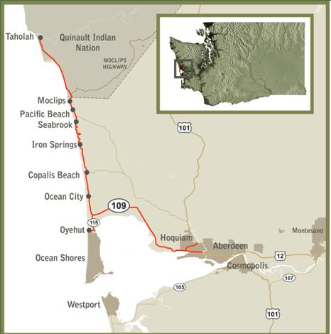 Hidden Coast Scenic Byway map