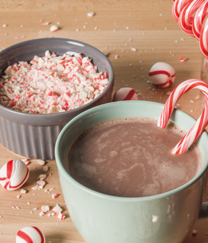 photo of peppermint candy and hot chocolate