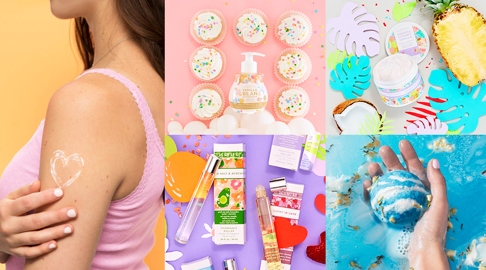 Collage of Scentsy body products