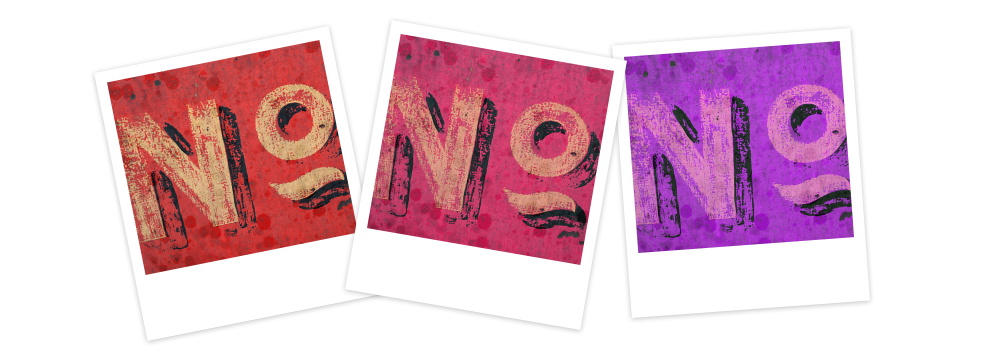photo montage of the word no