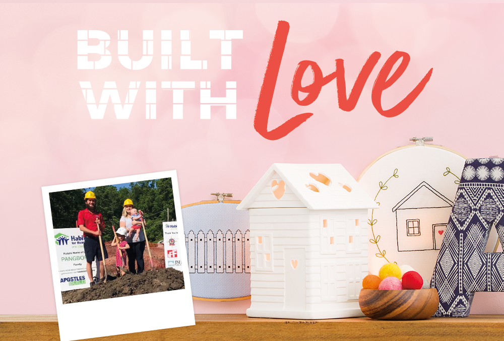 Built with Love Warmer with photo of family on the lot of their future home