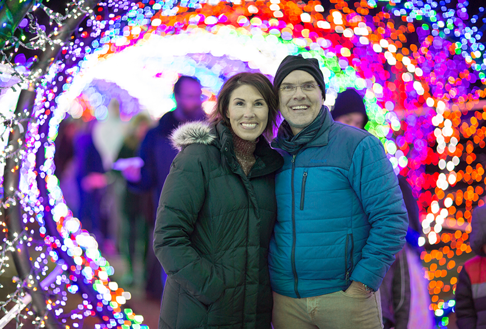 Photo of Heidi and Orville in the Scentsy tunnel of lights