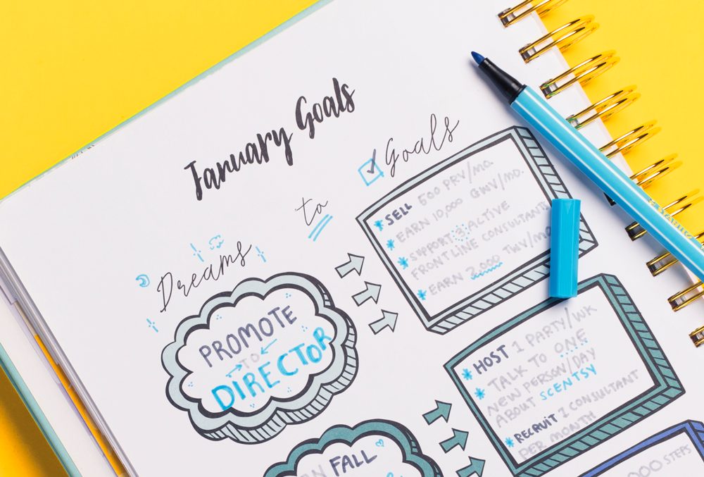 Notepad of a Scentsy consultant goals in 2018