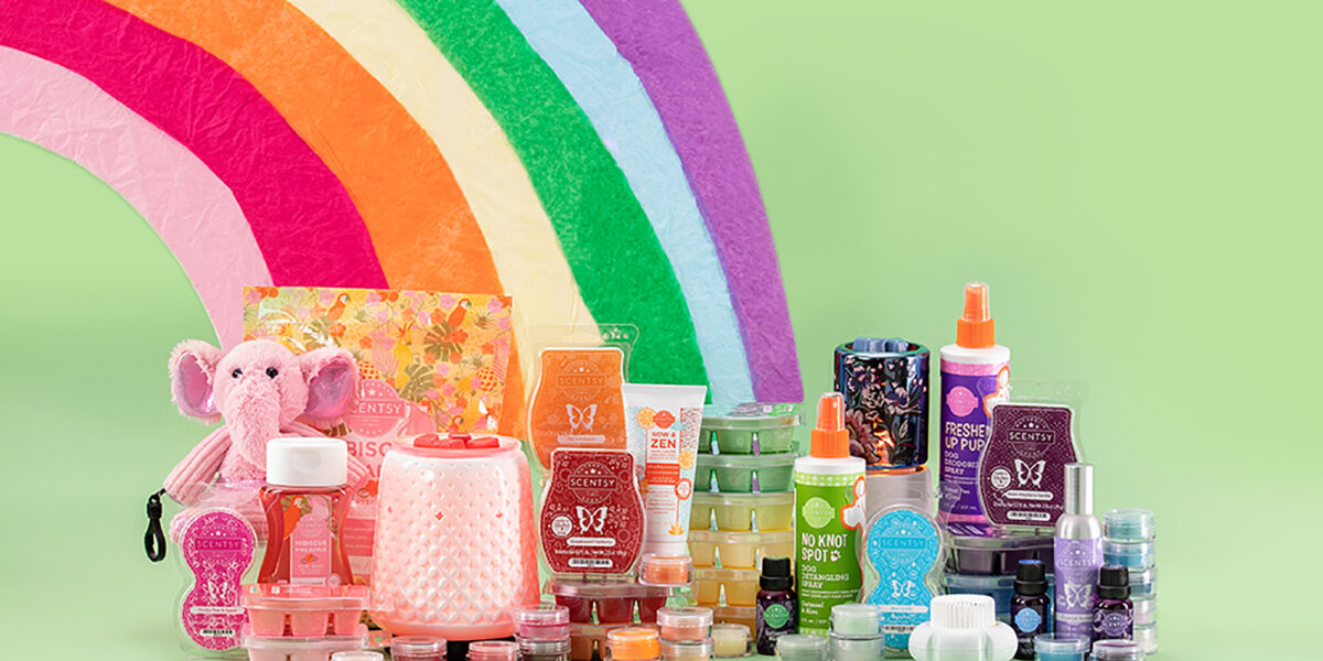 Scentsy products sitting at the end of a rainbow for St. Patrick's Day