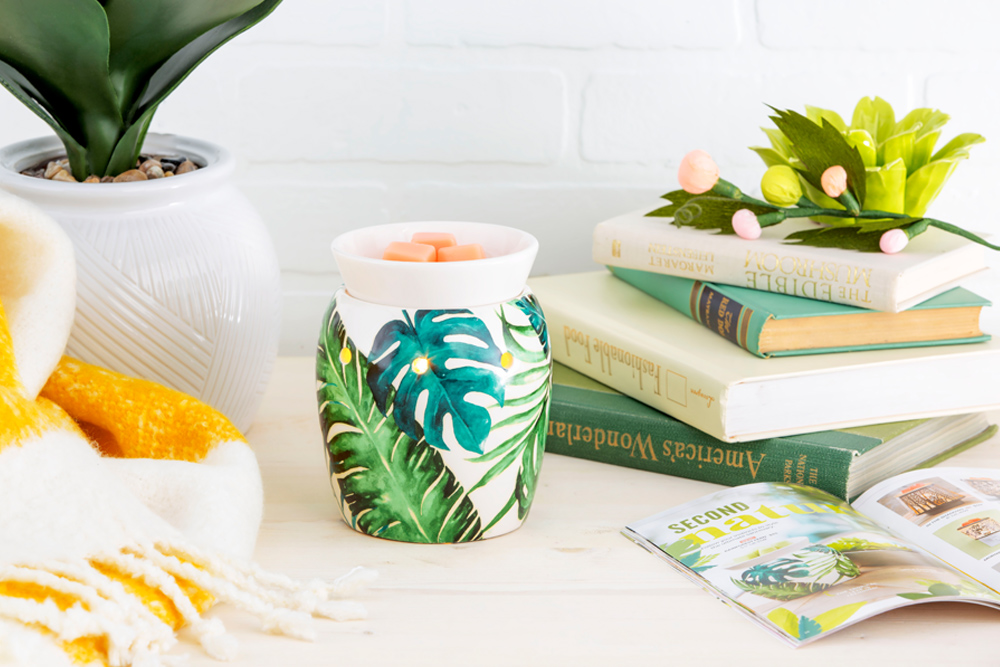 photo of Scentsy's rainforest fern warmer with spring decor
