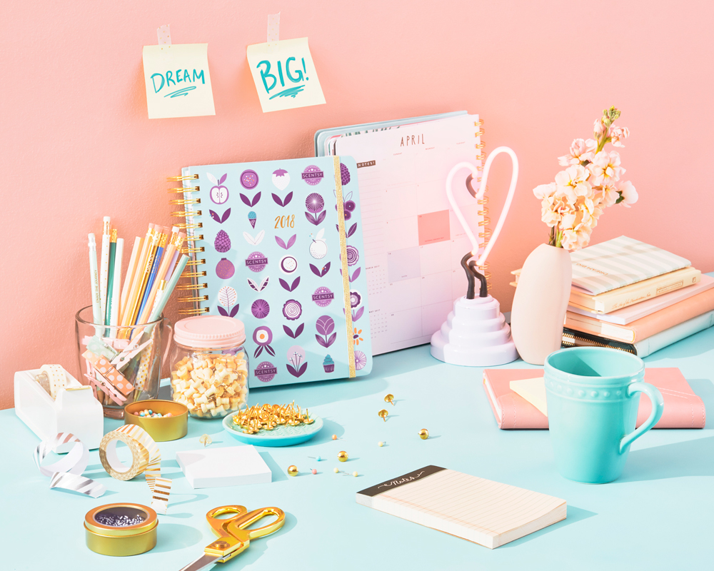 Photo of Scentsy planner on desk with motivational sticky notes, dream big!