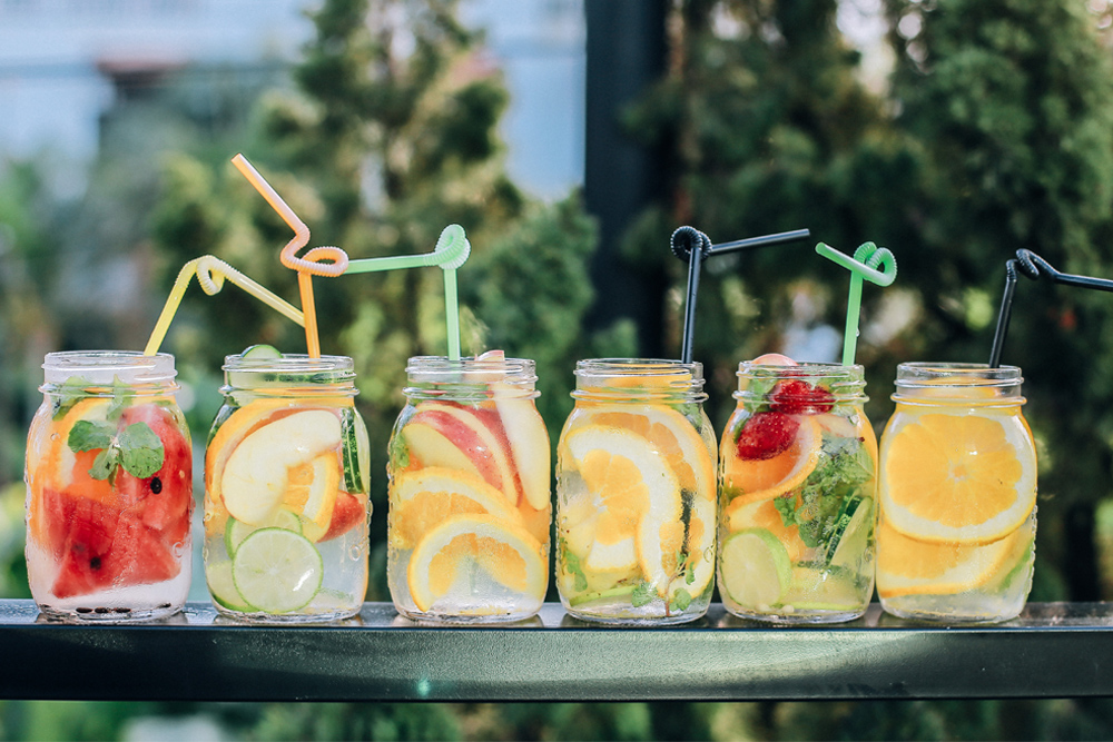 Photo of mason jars of fruit infused waters