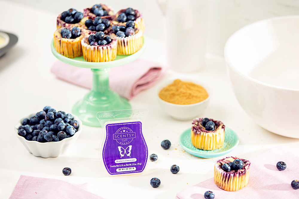 Blueberry cheesecake mini cheesecake aside Scentsy's blueberry cheesecake wax bar
