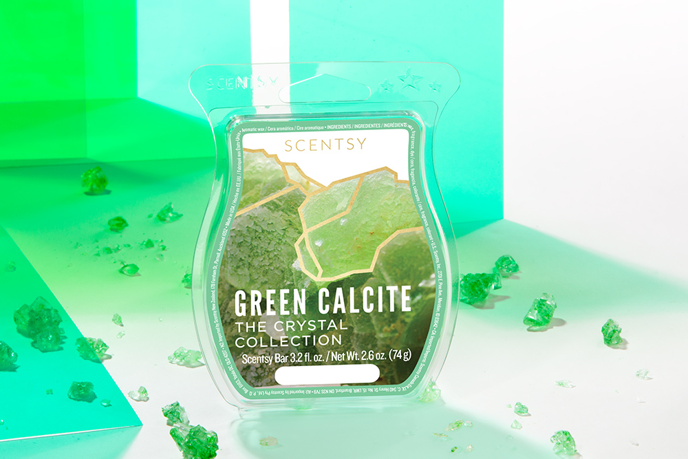 Photo of Green Calcite wax bar from Scentsy's Crystal Wax Collection