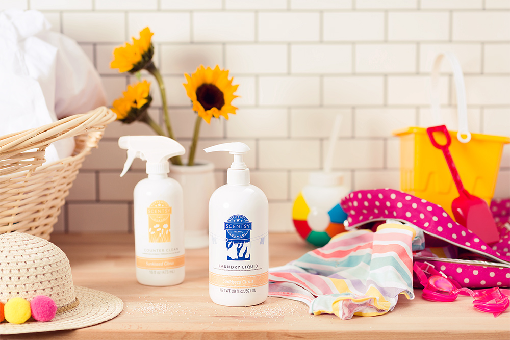 Photo of scentsy clean and laundry products on a kitchen counter