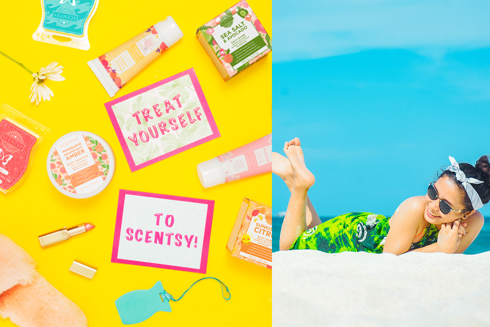 Photo of summer themed scentsy products and a woman relaxing on the beach