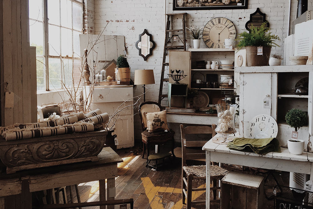 photo of room full of shabby chic antiques