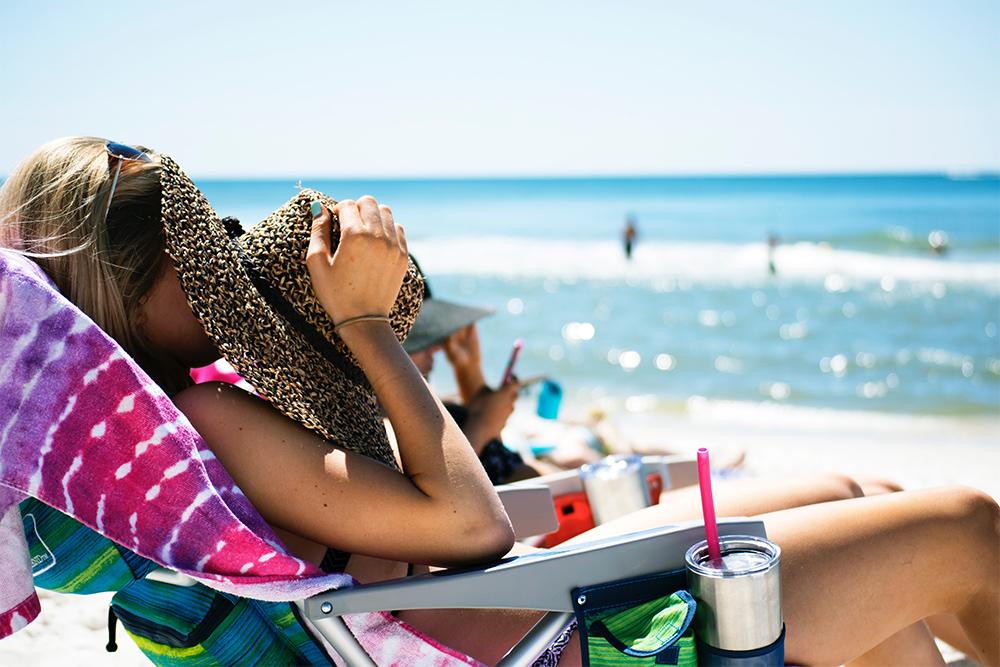 Photo of a woman sunbathing