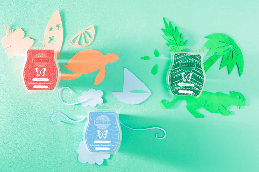 Photo of scentsy bars in clean and tropical fragrances