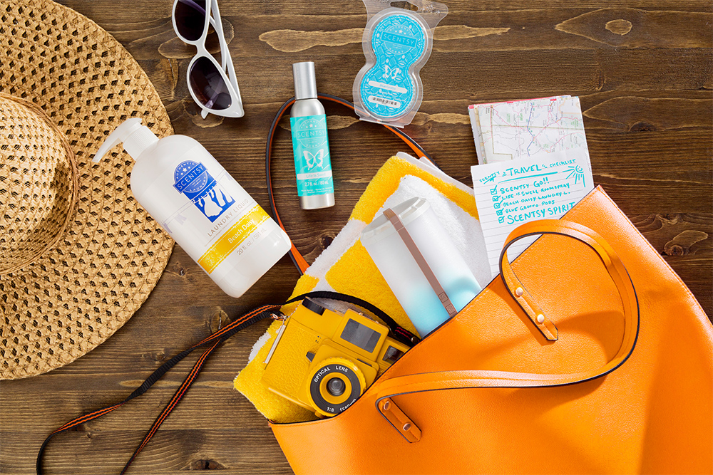Photo of Scentsy products in a open purse bag