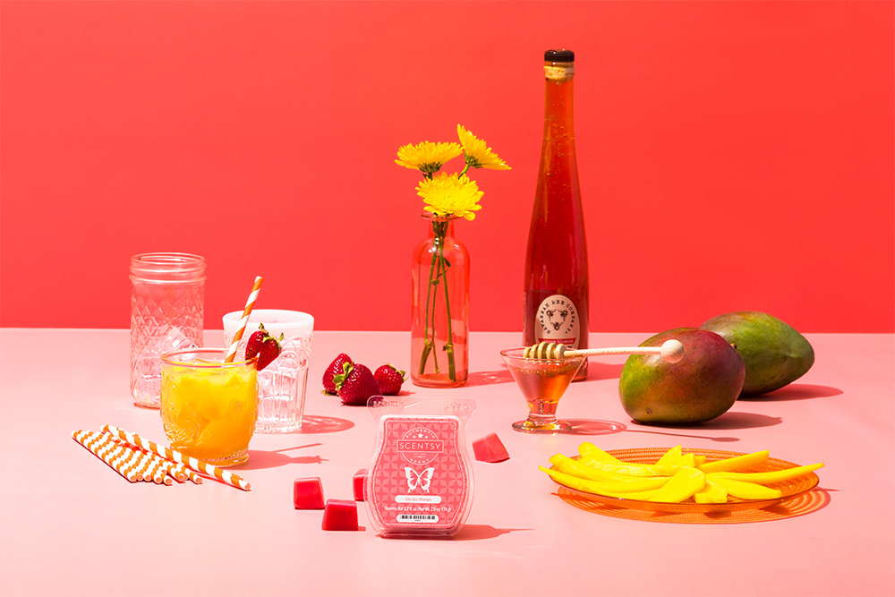 Photo of Scentsy go, go mango wax bar on a mango dessert themed table