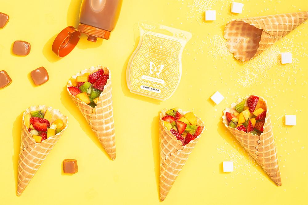 sugar cones filled with fruit around Scentsy's Carmel sugar cone bar