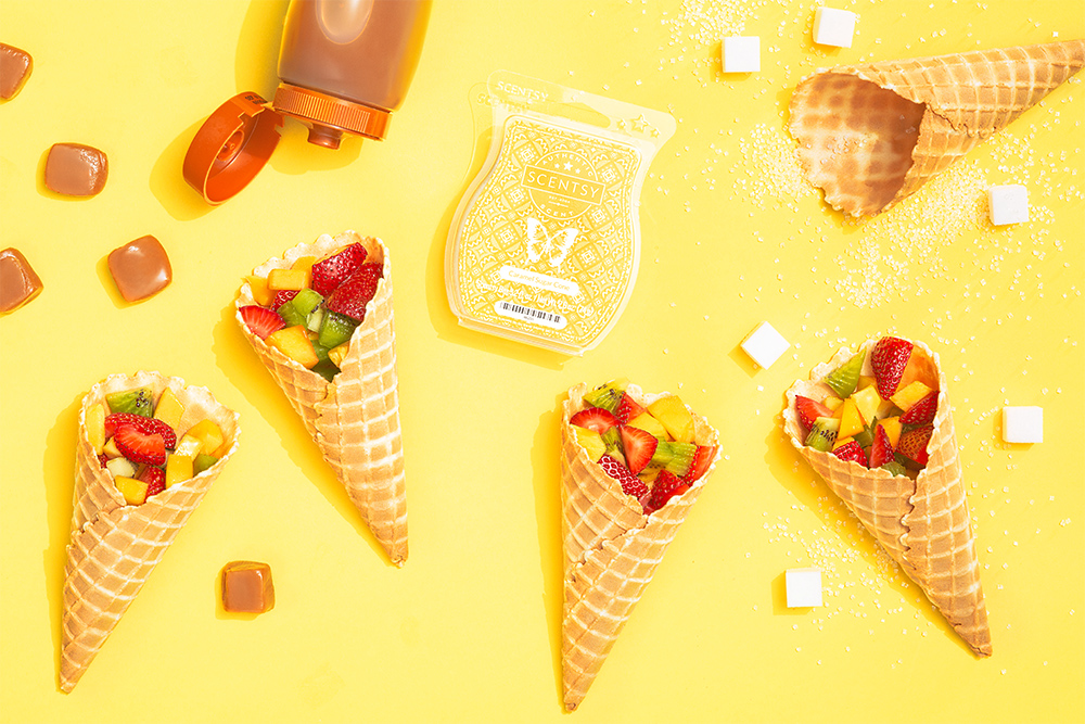 sugar cones filled with fruit around Scentsy's Carmel sugar cone bar