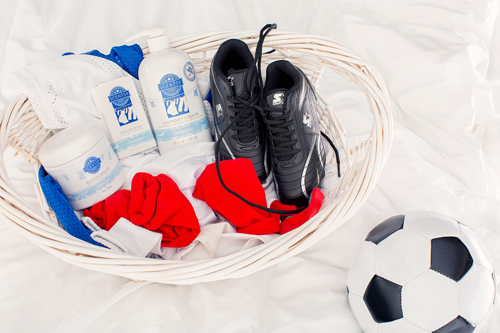 photo of Scentsy Laundry product and athlete gear