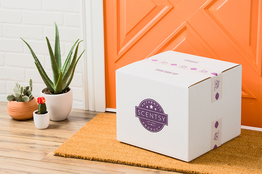 Photo of Scentsy Club box sitting on a door step