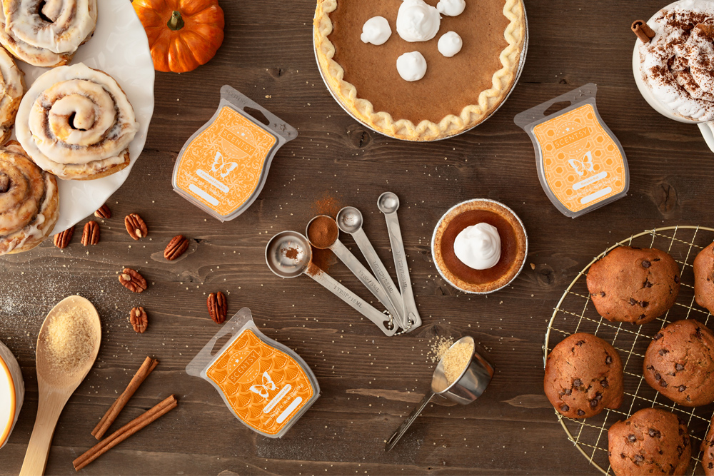 table top with Scentsy's pumpkin inspired wax fragrances