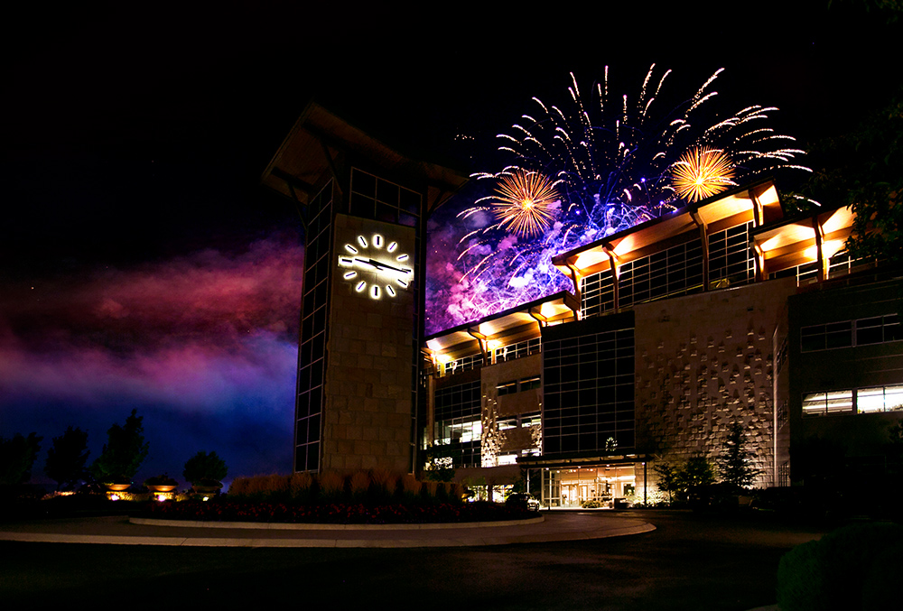 Photo of Scentsy headquarters with fireworks