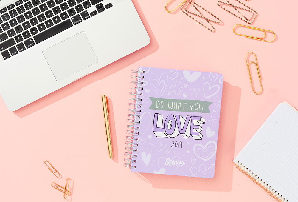"""photo of a """"do what you love"""" 2019 planner on a desk"""