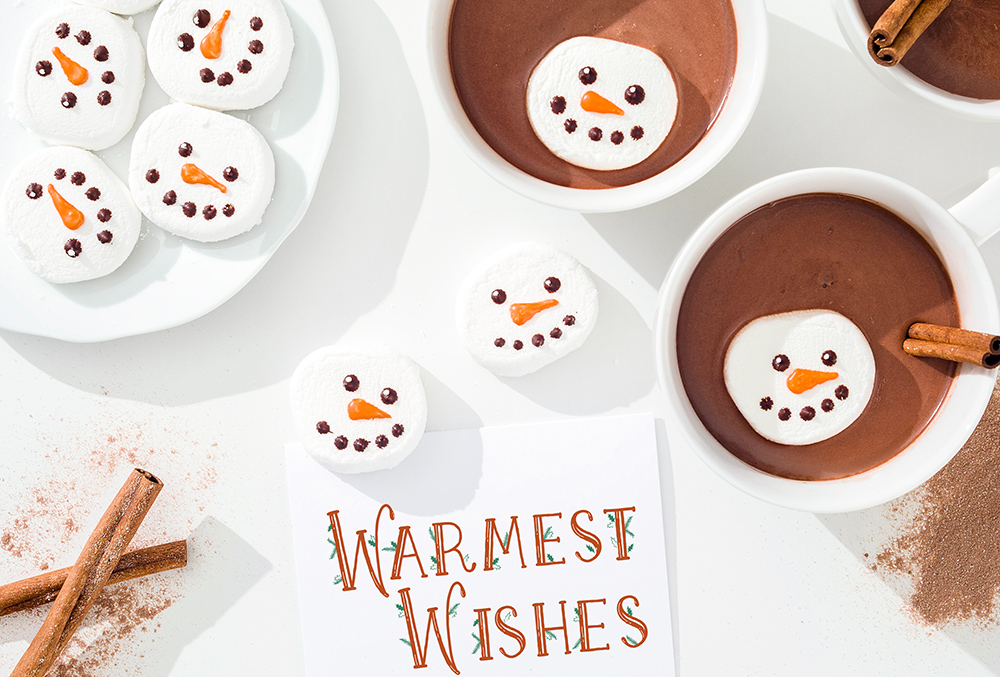 photo of cocoa and snowman mashmallows