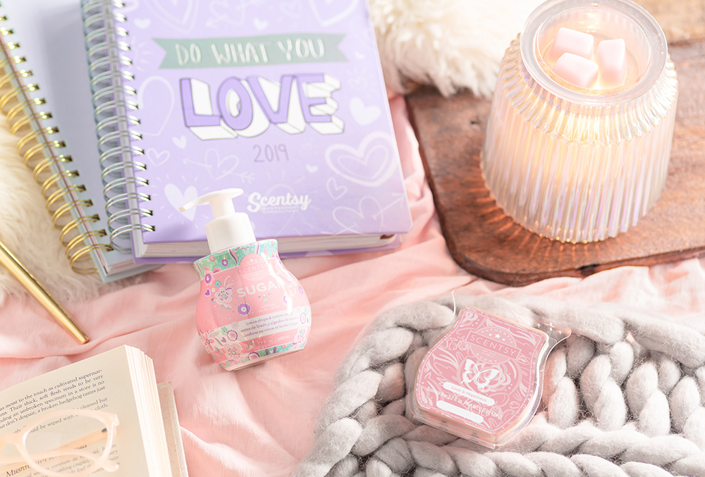 cozy photo of consultant 2019 planner and scentsy products