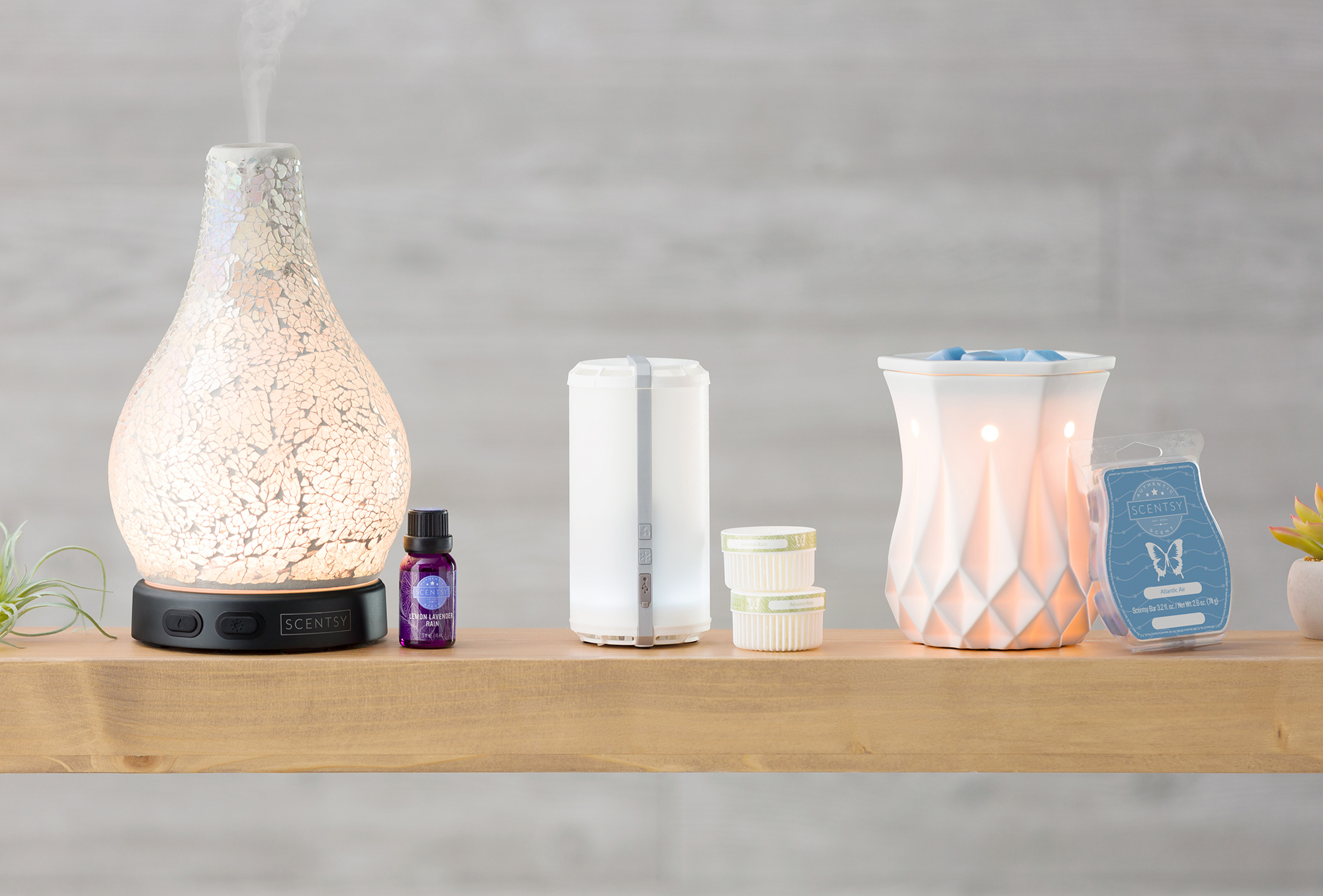 Scentsy System products, diffuser and oil system, scentsy go and pod system, and warmer and wax system