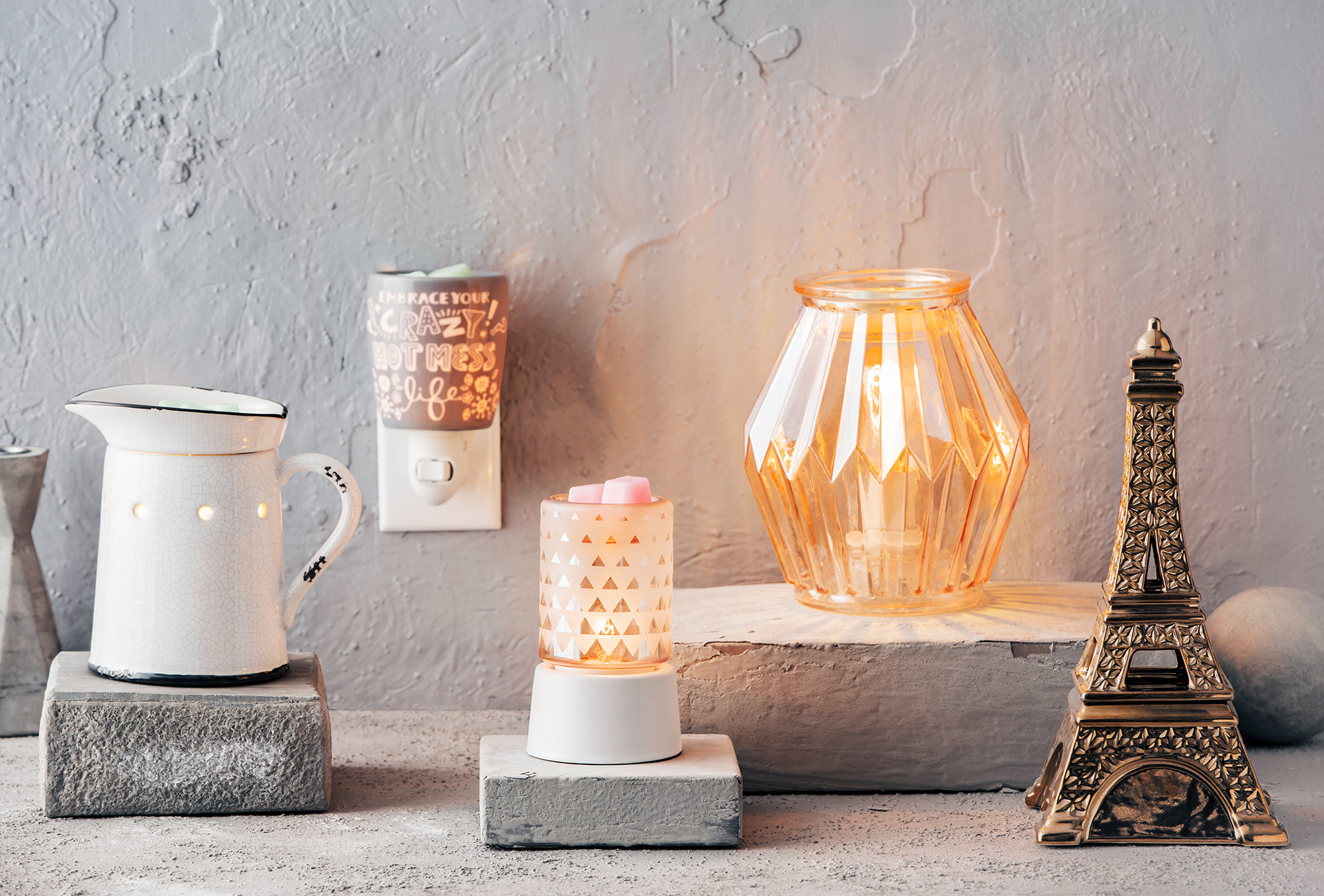 Line up of Scentsy's diverse and unique warmers